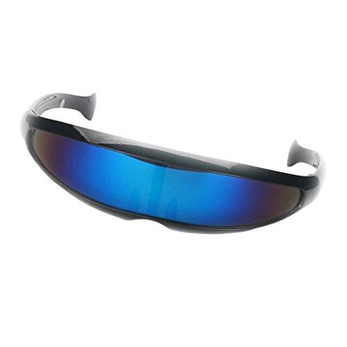 B Baosity Herren Damen Verspiegelte Sonnenbrille Futuristische Alien Cyclops Foto Prop Fotorequisiten - Schwarz Blau