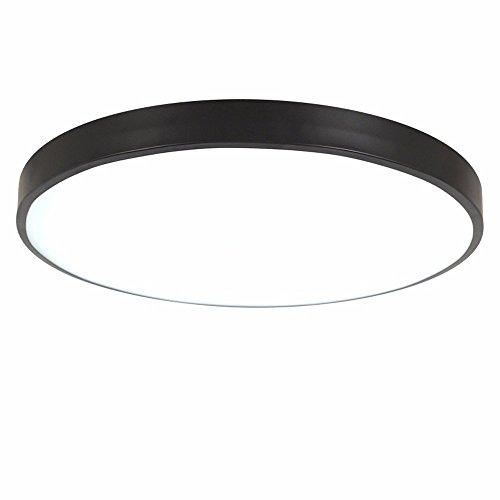PANNN Runde Deckenlampe Ultra-dünne LED Deckenleuchte Modern Einfachheit Pendelleuchte Stärke 5 cm Kinder Deckenlampe für Wohnzimmer Schlafzimmer Kinderzimmer Restaurant, schwarz, 30cm weißes Licht - Schwarz-badezimmer-lampen