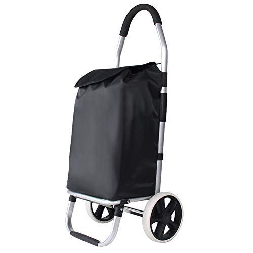 GUOOK Einkaufswagen Leichter Einkaufswagen, strapazierfähige, zusammenklappbare Einkaufstasche Einkaufskorb Einfache Lagerung, zusammenklappbare Träger, tragbare Räder (Aluminium Lagerung Rohr)