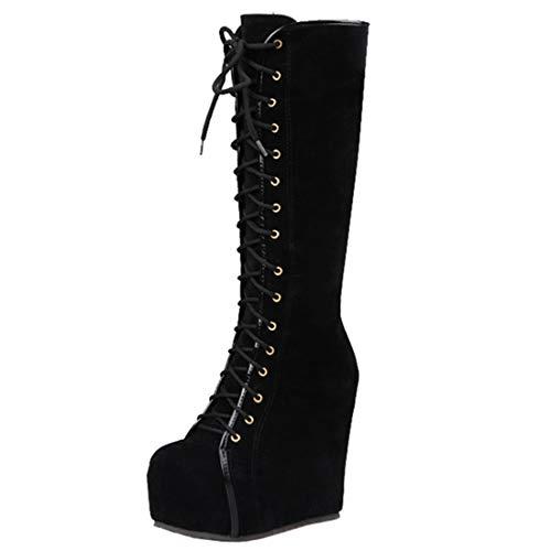 Artfaerie Damen Plateau High Heels Stiefel mit Keilabsatz und Schnürung Langschaft Boots Wedges 14cm Absatz Fashion Winter Schuhe (EU 40,Schwarz)