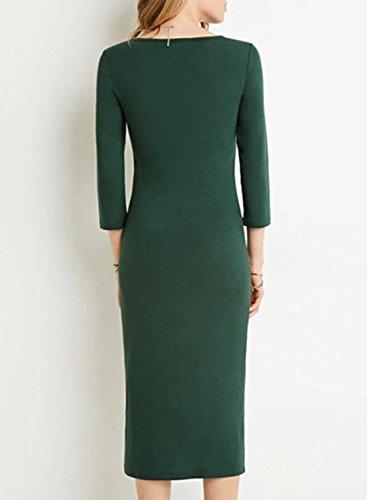 ACHICGIRL Women's Simple 3/4 Sleeve Bodycon Midi Dress Green