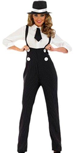 Halloweenia - Damen Kostüm Gangster mit Bluse, Krawatte und Hut , L, Schwarz-weiß (Gangster Kostüm Für Mädchen)