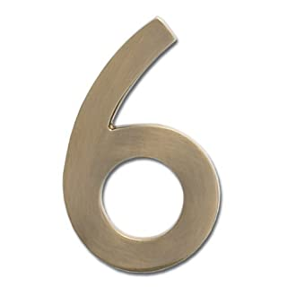 Architectural Mailboxes 3582AB-6 Brass 4-Inch Floating House Number, Antique Brass 6 by ARCHITECTURAL MAILBOXES