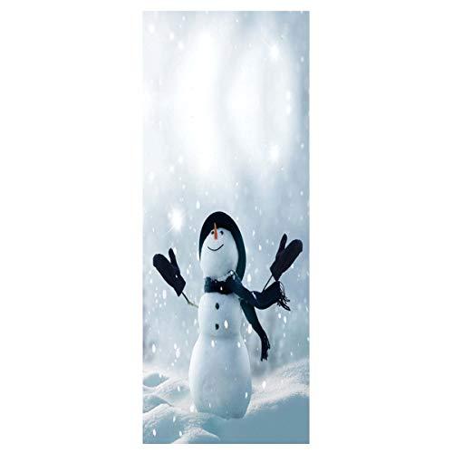 (YJZ 3D Porte Autocollant De Noël Bonhomme De Neige Papier Peint Amovible Vinyle Imperméable Autocollant Mural Autocollant Mural Pour Rénovation De La PorteEine)