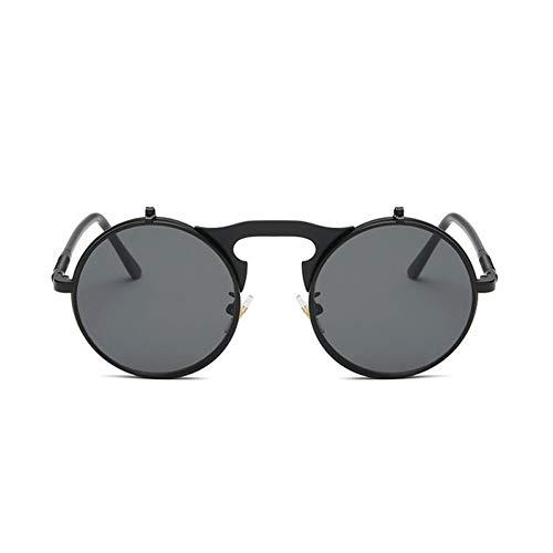 DFIHDCN Sonnenbrillen Steampunk-Sonnenbrille-rundes Metallfrauen-Art-Retro Flip kreisförmige doppelte Metallsonnenbrille