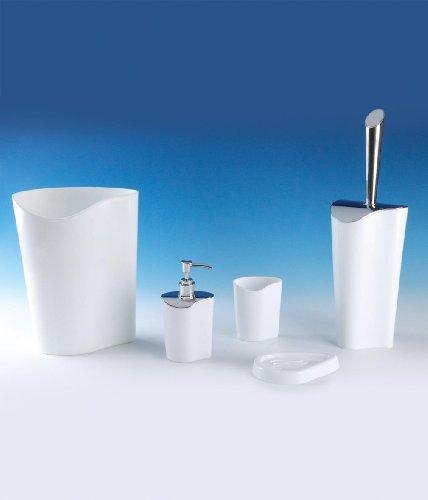 Sanwood by Nicol 6322426 Lia WC - Bürstengarnitur,Bürstenstiel Kunststoff verchromt, 41 x 12 x 12 cm, weiß