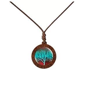 Damen Hals-kette Lebensbaum Glas-Cabochon + Holz-Fassung Lederband-kette braun Anhänger handmade Schmuckphantasien
