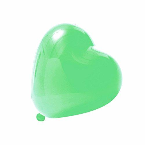 Logei® 100 pezzi pallonici a forma di cuore, pallonicini di cuore, palloncini della decorazione per san valentino, fidanzamento, matrimonio, colore verde
