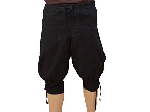 Trollfelsen Mittelalter Wikinger Kniebundhose Farbe Schwarz Beinschnürung Larp Gewandung Cosplay Größe S bis XXXL - XXXL