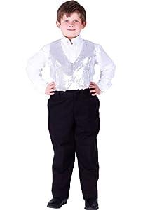 Dress up America - Chaleco de Lentejuelas para niños, Color Plateado (743-S)
