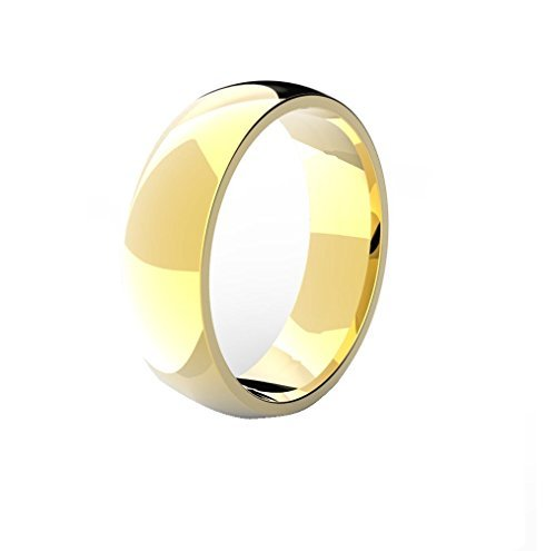 18k GOLD PLATED Men's Women's Stainless Steel Wedding Band Ring (6mm Wide - Size N)