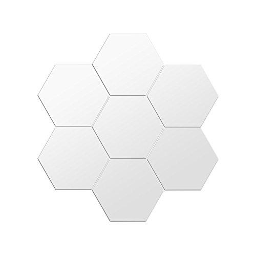 Spiegelsticker Deko-Aufkleber, Quadrat mit Spiegeleffekt, abnehmbare silberfarbene Vierecke für Badezimmer, Veranda, Wohnzimmer, Schlafzimmer, Hexagone 24Pcs - Hexagon Spiegel