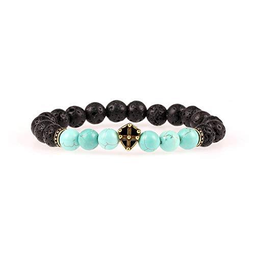 wangzz Perlen Armband New Black Achat Diamond Shield Stretch Kreatives Armband Fire Rock Armband, A291 - Black Fire Glas