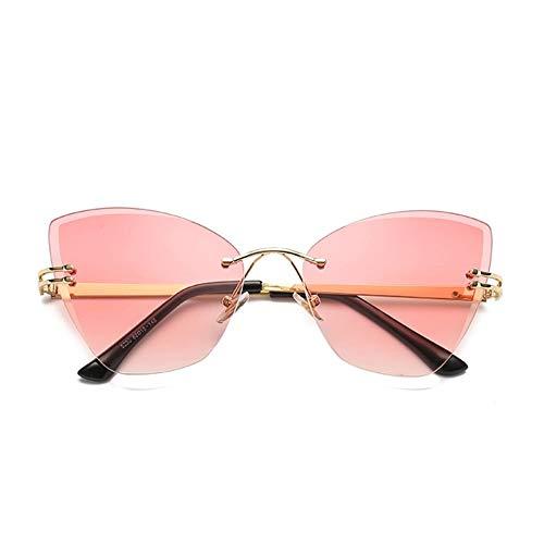 FUZHISI Sonnenbrillen Eye Sonnenbrillen Frauen Persönlichkeit Randlose Männer Sonnenbrillen UV400 Sonnenbrillen, Pink