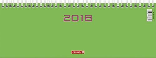 Brunnen 107726153 Tischkalender/Querterminbuch Modell 772, 2 Seiten = 1 Woche, 297 x 105 mm, Karton-Umschlag grün, Kalendarium 2018, Wire-O-Bindung