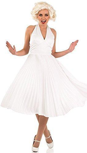 Weiß 1950s Jahre Filmstar Promi Symbol Kult Beauty Modell Schauspielerin TV Glamourös Maskenkostüm - Weiß, 12-14 (Sexy Promi Kostüme)