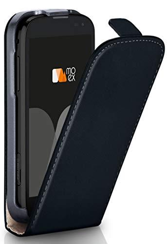 moex LG L Fino | Hülle Schwarz 360° Klapp-Hülle Etui Thin Handytasche Dünn Handyhülle für LG L Fino Case Flip Cover Schutzhülle Kunst-Leder Tasche