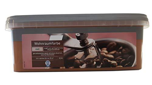 Farbige Hochleistungs-Bunte Wandfarbe mit extrem hoher Ergiebigkeit Wohnraumfarbe Matt 2,5 Liter, Farbe:Cappucino