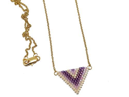 Halskette Japanische Perlen Lila Pink Beige Dreieck Weberei Chevronkette Edelstahl personalisiertes Geschenk Weihnachten Freund Muttertag Hochzeit Jahrestag Heilige