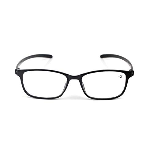 Metal Lectura Gafas Sehhilfe, ultraligera TR90 gafas de lectura Strength Presbyopic Glasses for the Elderly (1.5/2/2.5), Negro