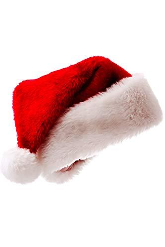 Zonsaoja Santa Mützen Unisex Weihnachtsmütze Traditionellen Weichen Rand rot One ()