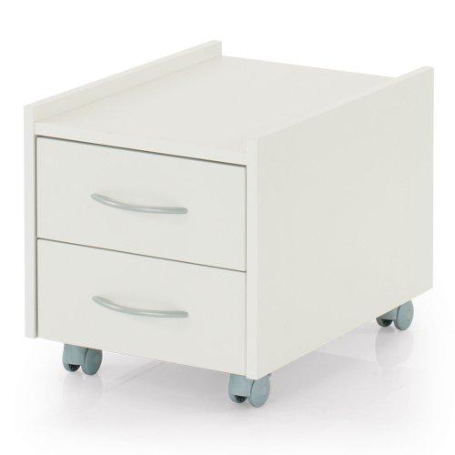 Kettler Rollcontainer Sit On – geräumiger Rollschrank mit 2 Schubladen, Sitzfläche und Geheimfach – passt perfekt unter den Kinderschreibtisch – auch als Hocker geeignet – weiß