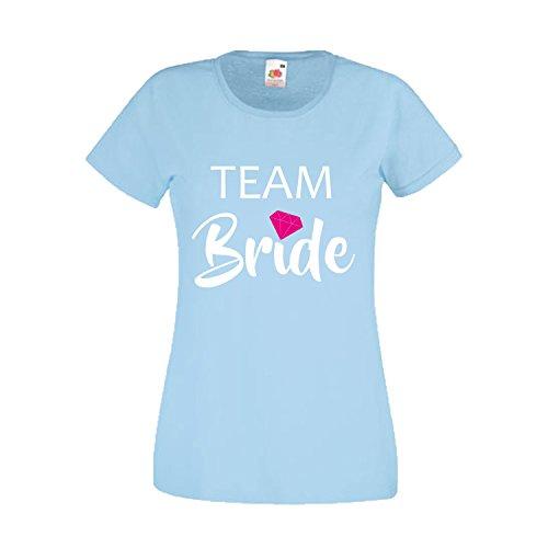 Damen T-Shirt JGA Junggesellinnenabschied Braut Team Gruppen Rundhals Shirt mit Spruch Ladyfit Bride & Team Bride Diamant Sky Blue Team Bride - Night Sky Kostüm