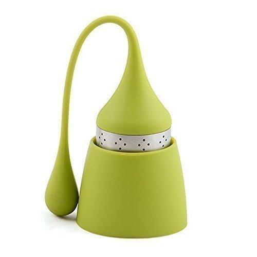 Infusor Bola, Infusionador/Filtro para té. iNeibo BOLA INFUSOR TE; colador acero inoxidable; Vástago y Reposa infusor de silicona sin bpa. Ideal infusor individual Sombrero duende Verde