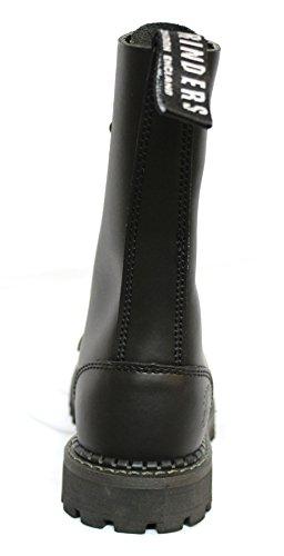 Bottines boots unisexe style militaire cuir véritable noir Punk Rock bout renforcé Herald Noir