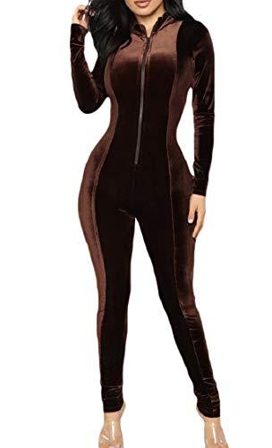 CuteRose Women Basic Style Bodycon Gold Velvet Zip-Up Long-Sleeve Jumpsuit Brown S Lace Velvet Romper