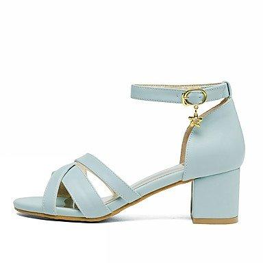LvYuan Da donna Sandali Finta pelle PU (Poliuretano) Estate Autunno Footing Fibbia Quadrato Bianco Blu Rosa 2,5 - 4,5 cm Blue