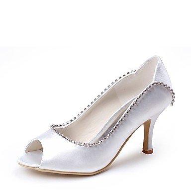 Wuyulunbi @ Chaussures Femme Soie Printemps Été Pompe Chaussures De Base De Mariage Stiletto Talon Peep Toe Strass Pour La Fête De Mariage Et Blanc Soir Blanc