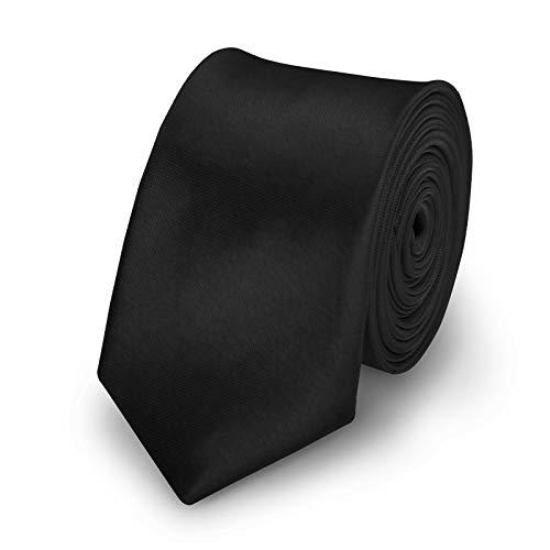 StickandShine Krawatte Schwarz slim aus Polyester einfarbig uni schmale 5 cm - Slim-krawatte Tie