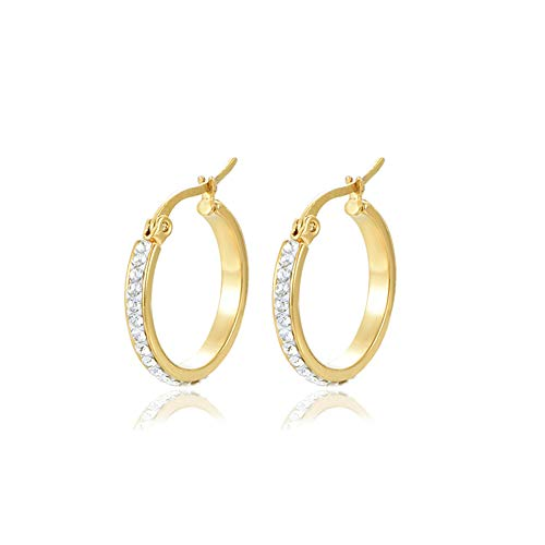 294445954 Yumay 9CT Yellow Gold Round Hoop Earrings With White Crystal for Women and  Girls(20MM