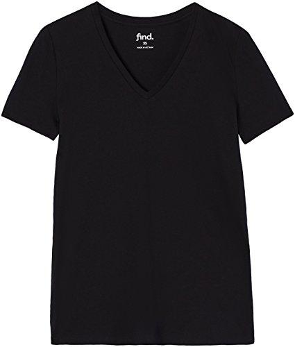 FIND Damen T-Shirt mit V-Ausschnitt, Schwarz, Medium