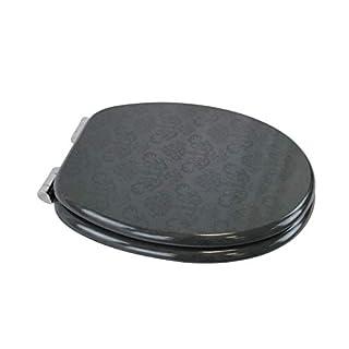 1PLUS Premium MDF Toilettensitz WC-Sitz mit Absenkautomatik und verzinkten Scharnieren in Verschiedenen Designs (Royal Black)