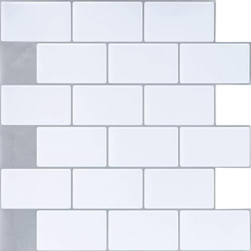 Ecoart Decorativos Adhesivos para Azulejos Pegatina de Pared, Azulejos de Gel, Diseño de Ladrillo Blanco, Efecto 3D, Autoadhesivo, para Baño y Cocina, 25.4cm*25.4cm, 6 Piezas por Paquete