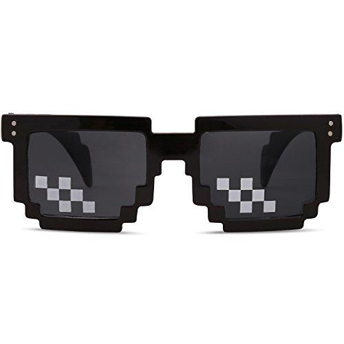 SOJOS Lunettes de Soleil Thug Life Deal With It 8-Bit Pixel Mosaïque Pour  Homme et Femme SJ2049 avec Mosaïque à 2 rangées en forme carrée ... 36a048659a4b