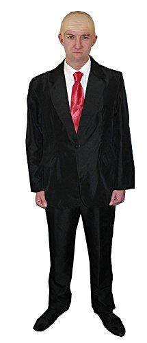 ILOVEFANCYDRESS Killer / Hitmen KOSTÜM VERKLEIDUNGS=BEINHALTET-HAUTFARBENDE GLATZEN PERÜCKE +ROTE Krawatte+Anzug=Gangster ODER Killer VERKLEIDUNG Fasching UND Karneval = Anzug IN Large