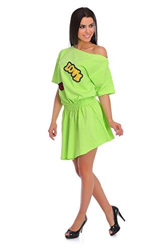 FUTURO FASHION - Robe - Patineuse - Manches Courtes - Femme Jaune Jaune Vert - Citron vert