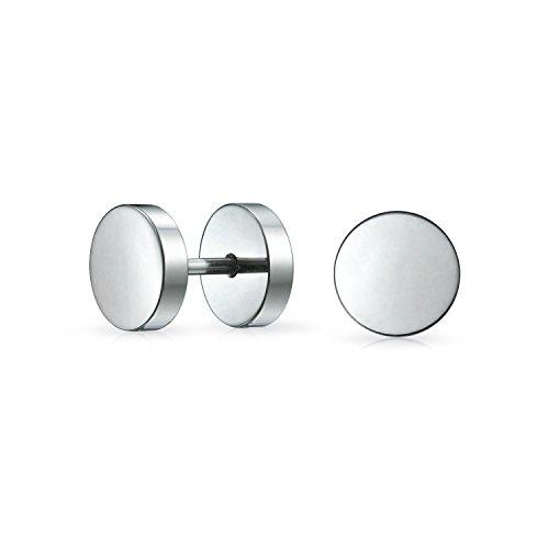 Bling Jewelry Bar Bell Runde 8MM Tunnel Illusion Faux Ohrstöpsel Ohrringe Für Herren Chirurgischer Stahl Schraubverschluss Ohrringe - 16-gauge-chirurgischem Ohrringe Stahl