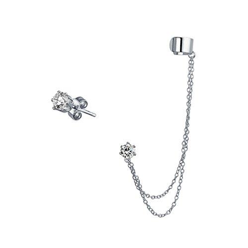 Bling Jewelry 925 Silber mit Kette CZ verknüpft Moderne Ohr Manschette eingestellt