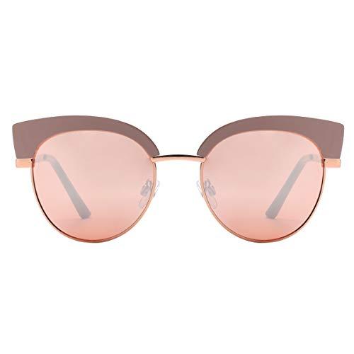 Reflektierenden Spiegel Rund Katzenaugen Sonnenbrille Halbrahmen 86697B Nude