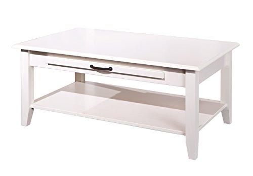 Interlink 20901610 CASSALA 7.1 Table Basse Pin Massif Blanc 60 x 100 x 45 cm