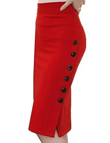 DSKILT Damen Basic Bodycon Röcke - Einfarbig Split/Patchwork Schwarz Rot, Rot, XXXXL -