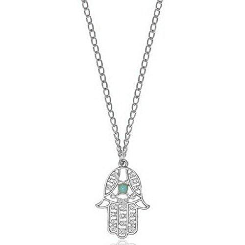 MESE London Collar Con Colgante De La Mano Hamsa De Fátima De Plata - Elegante Caja De Regalo