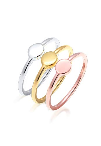 Elli Damen Ring Set Geo Tricolor Kreis 925 Sterling Silber Größe: 54 mm 0609590916
