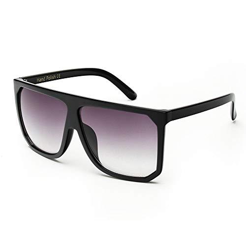 QDE Sonnenbrillen Damen Sonnenbrille Oversize Damen Flat Top Vintage Sonnenbrille Eyewear Polarized Sonnenbrille, Schwarz