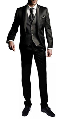 lig Anzug Slim Fit Hochzeiten Party Smoking Anzuege Sakko,Streifen Weste,Hose Schwarz (Schöne Anzüge Für Billig)