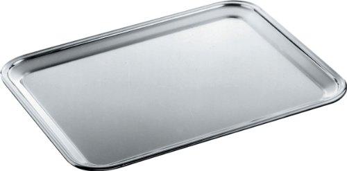 Alessi 335/50 Tablett, rechteckig - Edelstahl 18/10 mattiert mit glänzend poliertem Rand